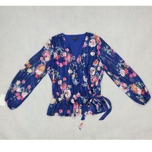 NWT INC XL Floral-Print Wrap Top Blouse